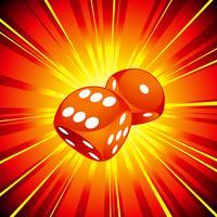 Spielende Abbildung mit zwei roten Würfeln auf glänzendem Hintergrund.