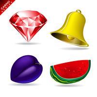Spelelement från en kasinospel med diamant, klocka och vattenmelon