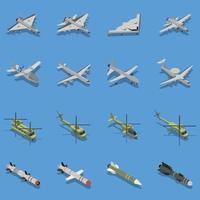 isometrische satzvektorillustration der militärischen luftwaffen vektor