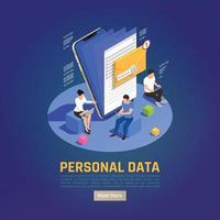 Hintergrundvektorillustration des Ordners für persönliche Daten data vektor