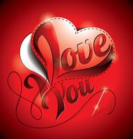 Alla hjärtans dag illustration med jag älskar dig titel och sömnad hjärta