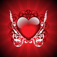 Valentinstagillustration mit reizendem Herd auf rotem Hintergrund vektor