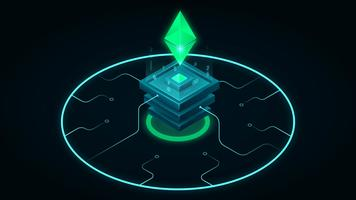 Isometrisk Blockchain Ethereum Neon Illustration vektor