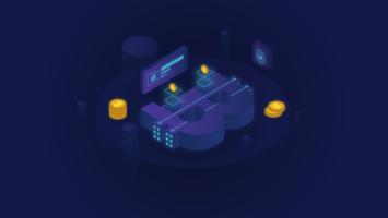Isometrisk Glödande Bitcoin Blockchain Illustration