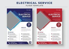Elektriker-Service-Flyer und Poster-Vorlage vektor