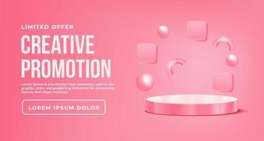 Bannerwerbung mit rosa Podest vektor
