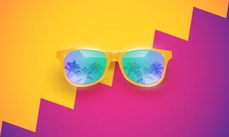 Realistische Vektorsonnenbrille auf einem bunten Hintergrund, Vektorillustration
