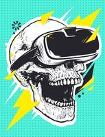 Schädel in Virtual-Reality-Brille vektor