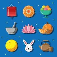 Chuseok Festival Feier Icon Set vektor