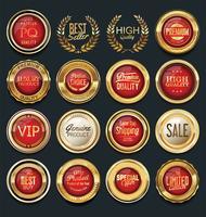 Lyx premium guld märken och etiketter vektor