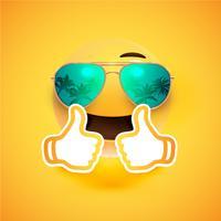 Realistischer Emoticon mit Sonnenbrille und Daumen oben, Vektorillustration