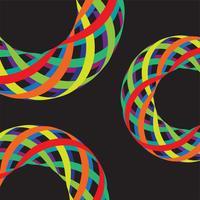 Bunte Linien in 3D auf schwarzem Hintergrund, Vektorillustration