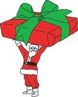 Weihnachtsmann mit sehr großem Geschenk vektor