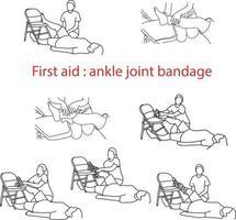Erste-Hilfe-Bandage bei Verletzung des Sprunggelenks vektor