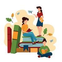 Schulkinder und Studenten, die Hausaufgaben machen, konzeptionelles Bild - Vektor
