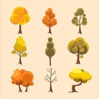 einfach warme Herbstbäume Icon-Set vektor
