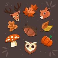 niedliche Flora-Fauna-Icon-Set vektor