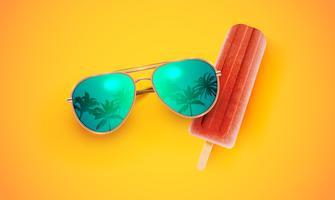 Realistische Sonnenbrille mit Eiscreme auf buntem Hintergrund, Vektorillustration