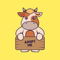 süße kuh, die ein poster hält, adoptiere mich. vektor