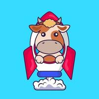 süße Kuh, die auf Rakete fliegt. vektor