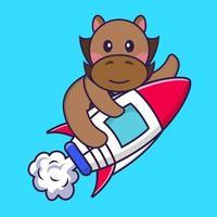 süßes Pferd, das auf Rakete fliegt. vektor