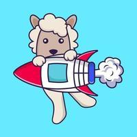 süße Schafe fliegen auf Rakete. vektor