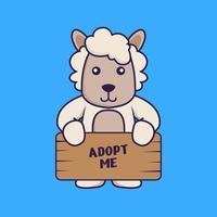 süße Schafe, die ein Poster halten, adoptieren mich. vektor