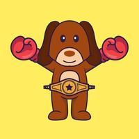 süßer Hund im Boxerkostüm mit Championgürtel. vektor