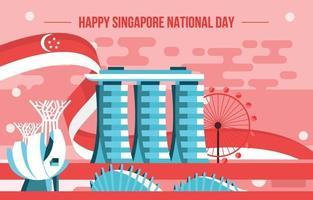 Singapur-Wahrzeichen mit Nationalflaggenhintergrund vektor