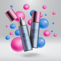 Realistiska skönhetsprodukter med färgstark bakgrund, vektor illustration
