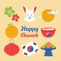 Happy Chuseok Tag Icon Vorlagensatz icon vektor