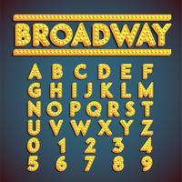 """""""Broadway"""" fontset mit Lampen, Vektorillustration"""
