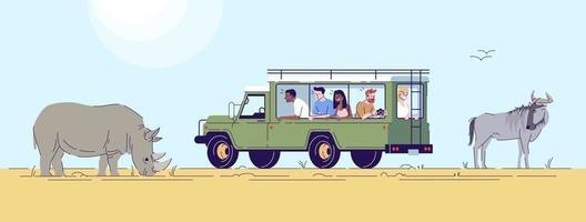 Safari-Expedition flache Doodle-Illustration vektor
