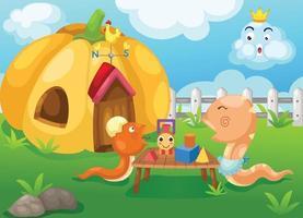 Illustration der isolierten glücklichen Familienschlange vektor