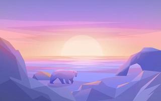 Polar-Sonnenuntergang mit Eisberg und Bär vektor