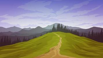schöne Landschaft mit Fußweg und Berg vektor