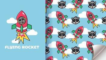 süße Waschbär fliegende Rakete nahtlose Muster vektor