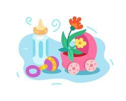 Geburt eines Kindes, Auszug. Kinderwagen, Flasche und Rassel vektor