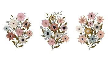 ein Strauß verschiedener Wildblumen mit Blättern. Pflanzen mit Blumen vektor