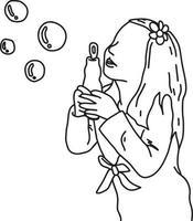 süßes Mädchen bläst Seifenblasen Vektor-Illustration vektor