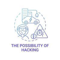 Ev Hacking Bedrohungskonzept Symbol. vektor