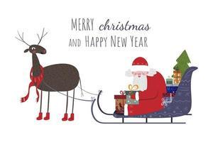 Der süße Weihnachtsmann sitzt im Schlitten mit Rentieren. vektor