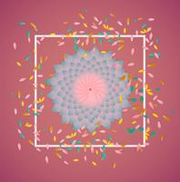 Färgglada blommor med vit gräns och löv, vektor illustration
