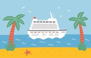ein großes Kreuzfahrtschiff segelt auf dem Meer. auf einer Ozeanlinie reisen vektor
