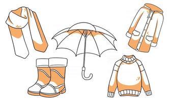 Herbst eingestellt. Schal, Regenmantel, Pullover, Gummistiefel, Regenschirm. vektor
