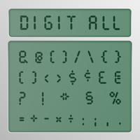 Digital-Zeichensatz von einem Schriftbild auf einem Bildschirm, Vektorillustration