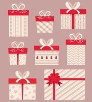 Sammlung von Geschenkboxen. Weihnachtsgeschenke. vektor
