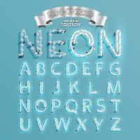 Neonguss fontset mit Weihnachtsdekorationskiefer, Vektorillustration