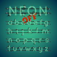 Gelber realistischer Neonzeichensatz mit Drähten und Konsole, Vektorillustration