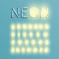 Realistisk neon tecken typsnitt set, vektor illustration